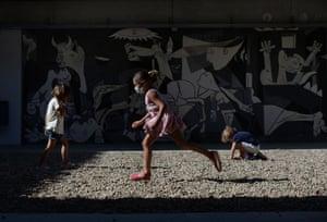 Children play on the playground of the Colegio Aljarafe S.C.A. school in Mairena del Aljarafe, near Seville.
