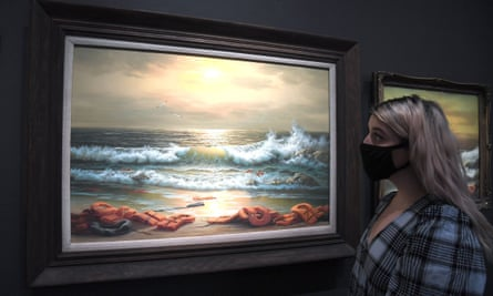 One of the paintings in the Banksy triptych Mediterranean Sea View 2017.
