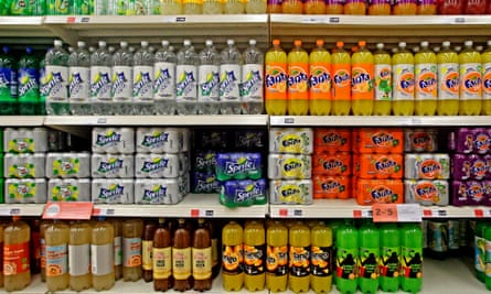 Soft drinks on display in a supermarket