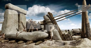 Raising the sarsens at Stonehenge, about 2500 BC. Screenshot from English Heritage website.