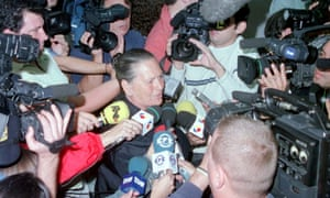 Antonia Castro, mother of Juan Holgado and wife of Francisco, facing the press in 2003.