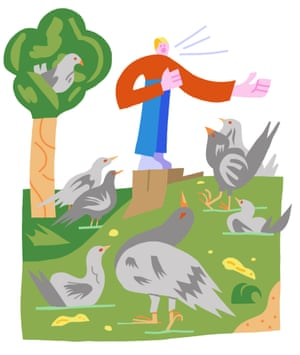 Illustration of person speaking to birds
