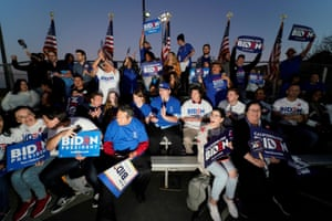Supporters of Joe Biden attend his Super Tuesday night rally in Los Angeles, California