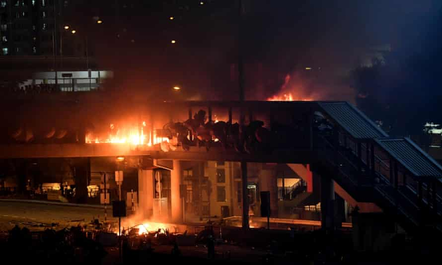 A fire burns outside Hong Kong Polytechnic University as the riots and demonstrations continued this week.