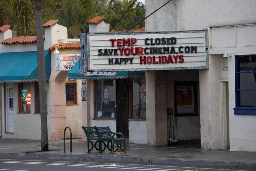 A movie theater in Encinitas, California. The new restrictions will last through the upcoming holidays.