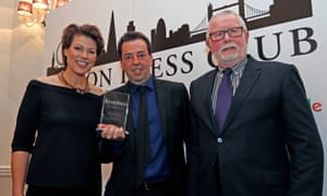 David Cohen, centre, with host Kate Silverton and chairman of judges, Bill Hagerty.