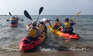 Instructor Enol sets water-sports enthusiasts on their way. San José, Almeria, Spain.