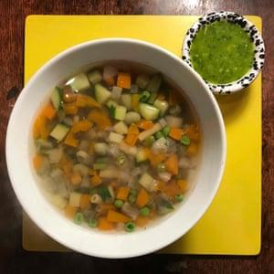 Perfect soupe au pistou a la Michel Roux: fat-free but not all that rich.