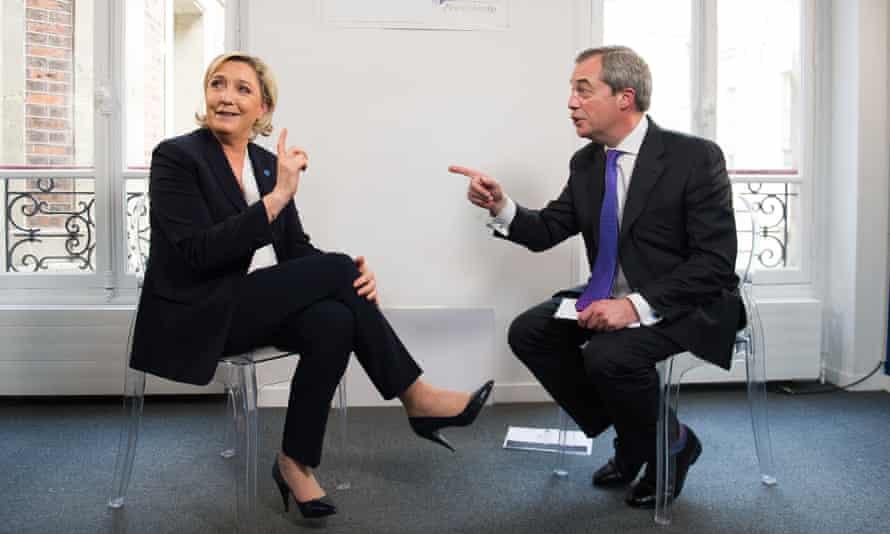 LBC presenter Nigel Farage interviews Marine Le Pen in Paris for his radio show.