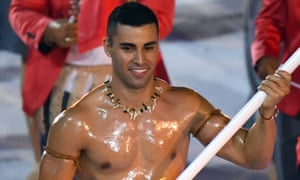 Pita Taufatofua leading his delegation during the opening ceremony of the Rio 2016 Olympic Games at the Maracana stadium in Rio de Janeiro.