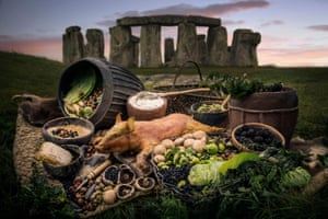 An artist's impression of some of the food consumed by the builders of Stonehenge.