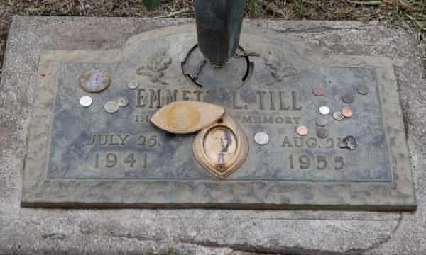 The grave marker of Emmett Till at the Burr Oak Cemetery where the 60th anniversary of his murder has been commemorated.