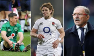 (Left to right) Ireland's Jonathan Sexton, England's Sarah Hunter, and Jacques Brunel, coach of the increasingly beleaguered France.