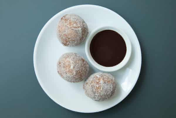 Bombolino chocolino pudding: 'two hot, sugared doughnut balls with a dish of melted, orange-infused, dark chocolate to dip them in'.