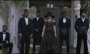 Beyoncé seen in regional-specific clothing during her video for her new single, Formation.