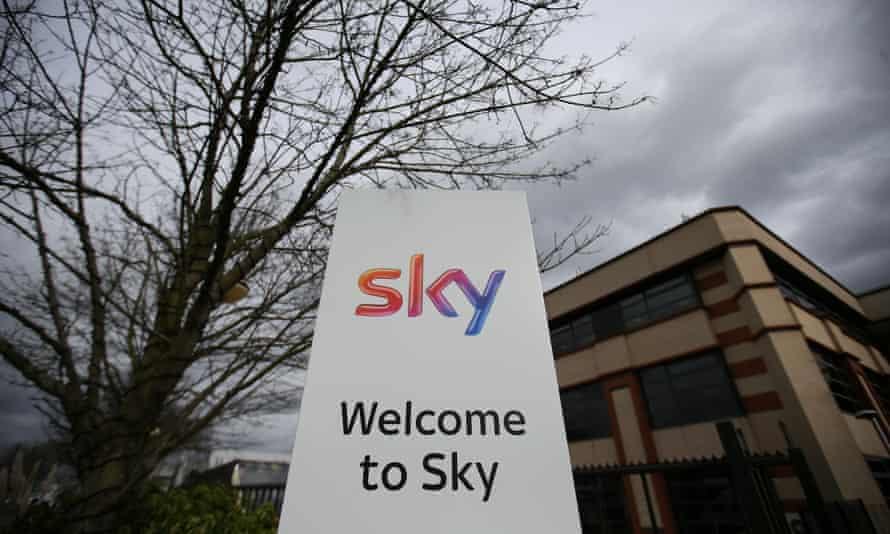 The entrance to pay-TV giant Sky's headquarters in Isleworth, west London.