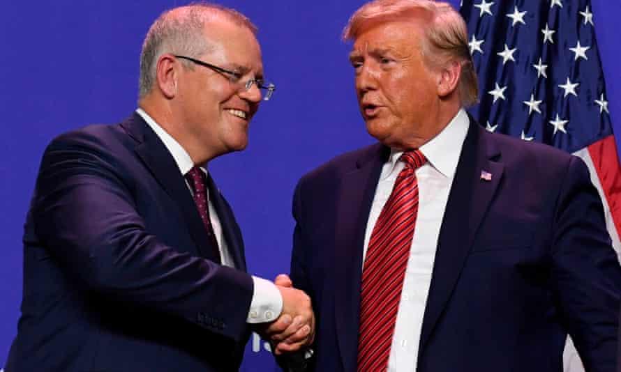 Scott Morrison and Donald Trump shaking hands