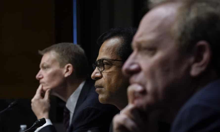 Kevin Mandia, the FireEye CEO, Sudhakar Ramakrishna, the SolarWinds CEO, and Brad Smith, the Microsoft president, testify during a Senate hearing.