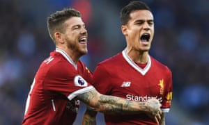 Alberto Moreno congratulates his Philippe Coutinho after the Brazilian scored at Leicester in September
