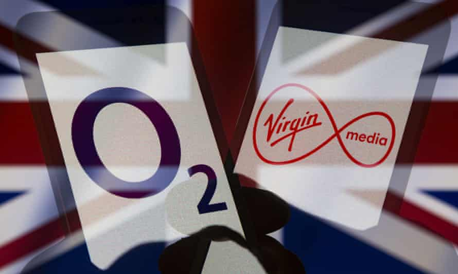 Logos of O2 and Virgin Media on smartphones