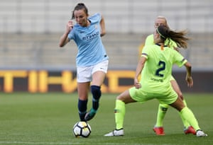 Manchester City's Caroline Weir takes on Barcelona's Gemma Gili in a pre-season match on Monday night.