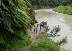 Canoes launch in the middle Whanganui