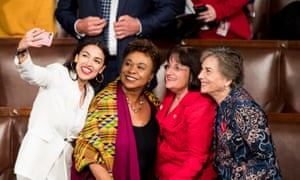 Congresswoman Barbara Lee, second from left, here in the House with, from left, freshman Democrat reps Alexandria Ocasio-Cortez, of New York, Annie Kuster, of Texas, and Jan Schakowsky, of Illinois.
