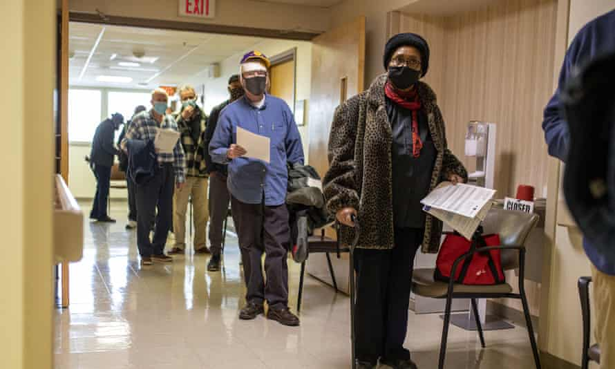 Donnie Richardson, 70, of Philadelphia, a retired US air force master sergeant, waits in line to receive a Covid-19 vaccine at the VA Medical Center in Philadelphia.