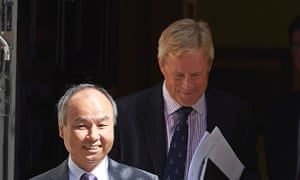 Softbank chief executive Masayoshi Son and ARM chairman Stuart Chambers after the announcement of a £24bn takeover.