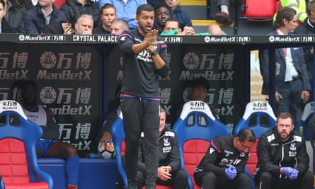 Steven Reid issues instructions from the touchline as first-team coach at Crystal Palace.