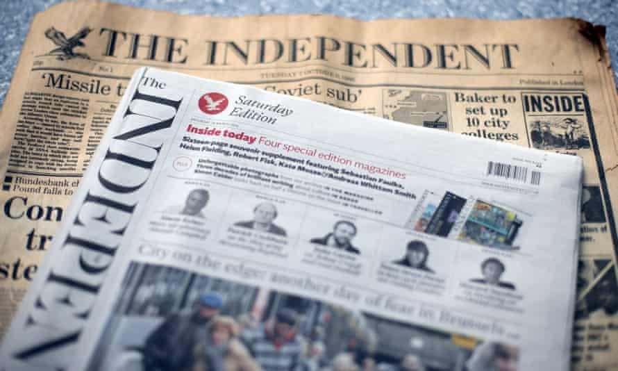 The first and last editions of the Independent newspaper, which began in 1986.