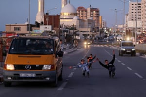 Rollerblading on a road in Gaza City