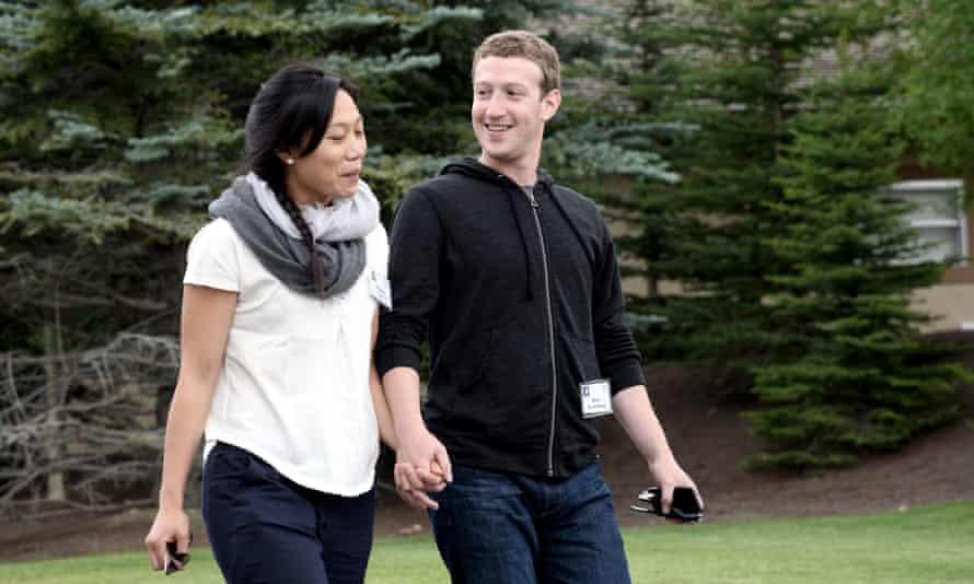 Mark Zuckerberg (right) and wife Priscilla Chan