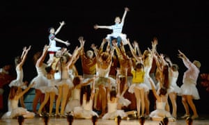 The cast during the curtain call for the last West End performance of Billy Elliot the Musical