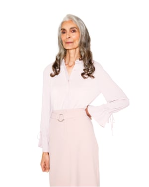 All Ages Fashion Special Pam wears blouse, £28, next.co.uk. Skirt, £19.99, newlook.com.