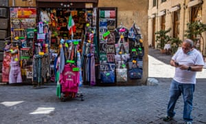 Customers are thin on the ground for this souvenir shop in Rome