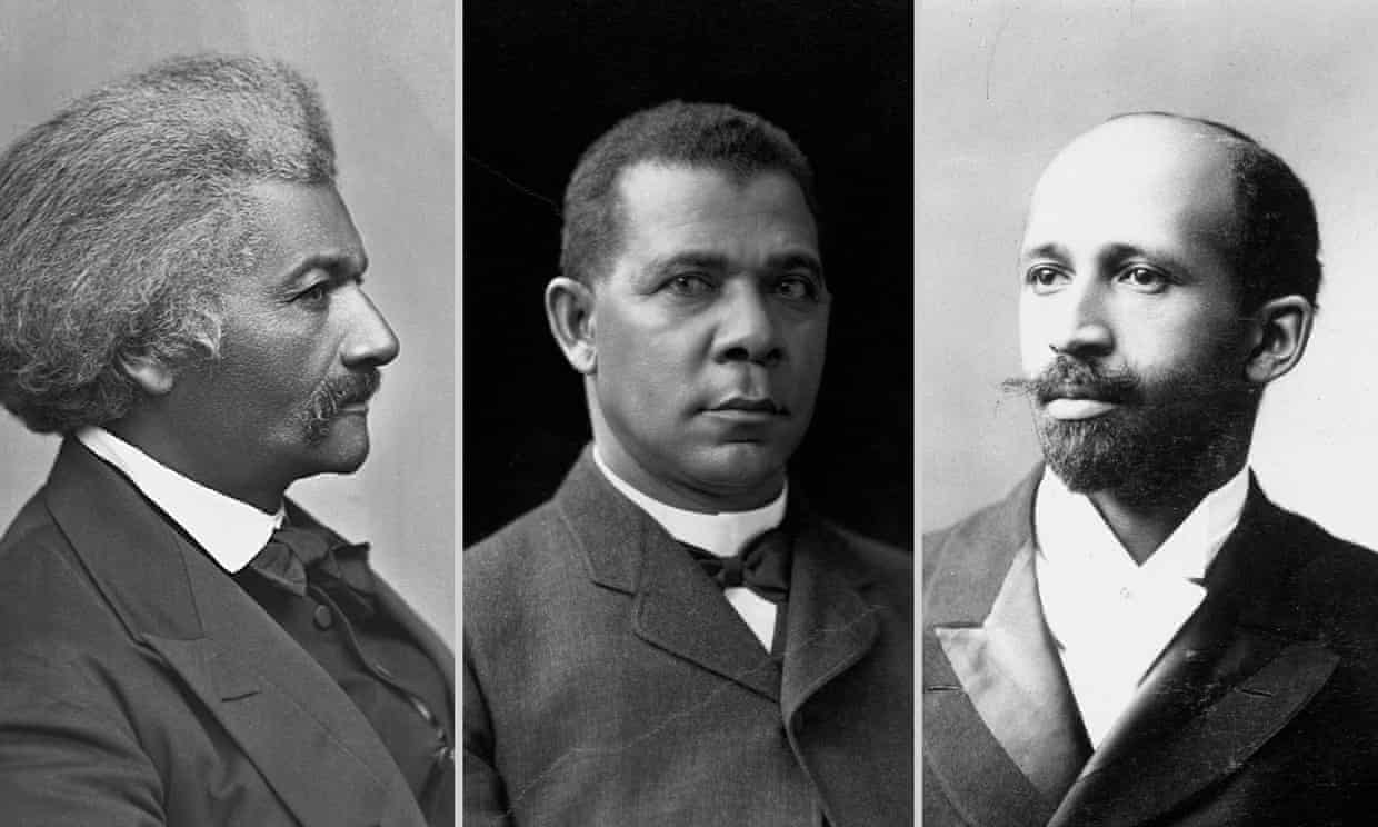 From left: abolitionist and writer Frederick Douglass, educator and writer Booker T Washington and American writer and sociologist WE Du Bois. Photograph: Getty