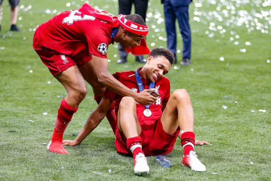 The Liverpool forward Rhian Brewster takes a selfie with Trent Alexander-Arnold after the final whistle.