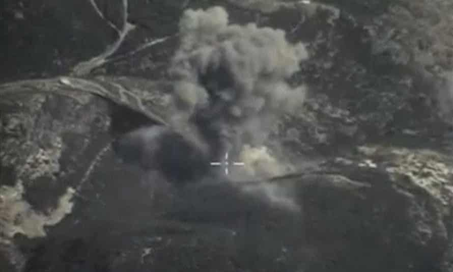 Smoke rising after airstrikes carried out by Russian air force near Jisr al-Shughour