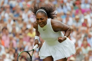 Serena Williams celebrates beating Angelique Kerber in the 2016 Wimbledon womens singles final