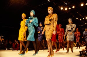 Suits and matching turbans in Kenzo's autumn-winter 1986 show. Of his work, Takada once said: 'Fashion is not for the few, it is for all the people. It should not be too serious'