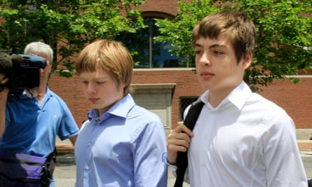 Tim Foley, 20, left, and his brother Alex, 16, leave federal court after a bail hearing for their parents, Donald Heathfield and Tracey Lee Ann Foley, in Boston, on Thursday, July 1, 2010.