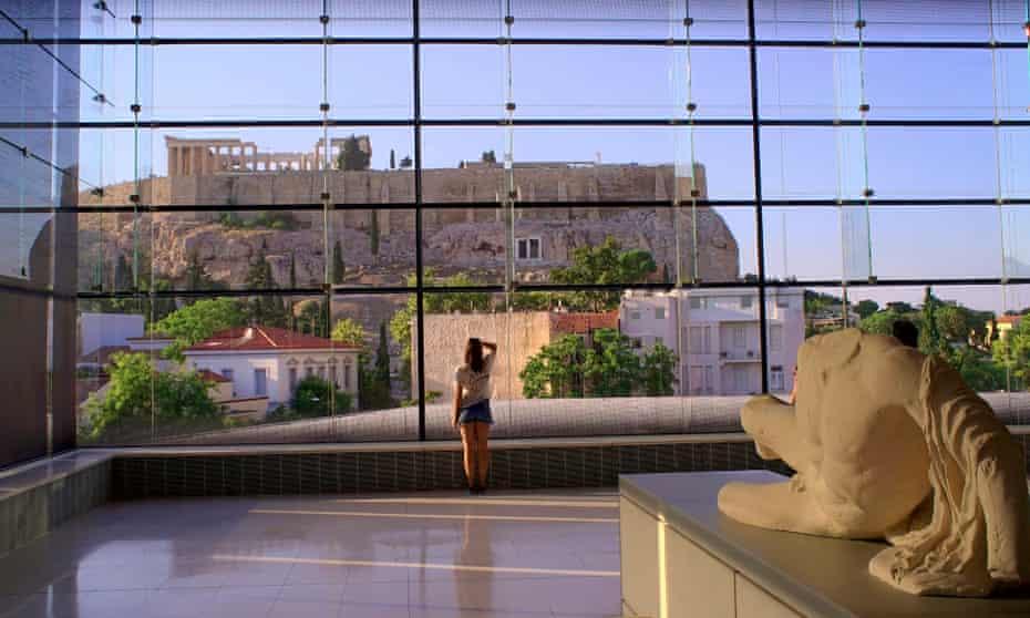 The Acropolis, seen from the Acropolis Museum, Athens.