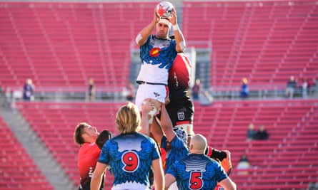 Michael Stewart of the Colorado Raptors wins a lineout against the San Diego Legion in Las Vegas in February.