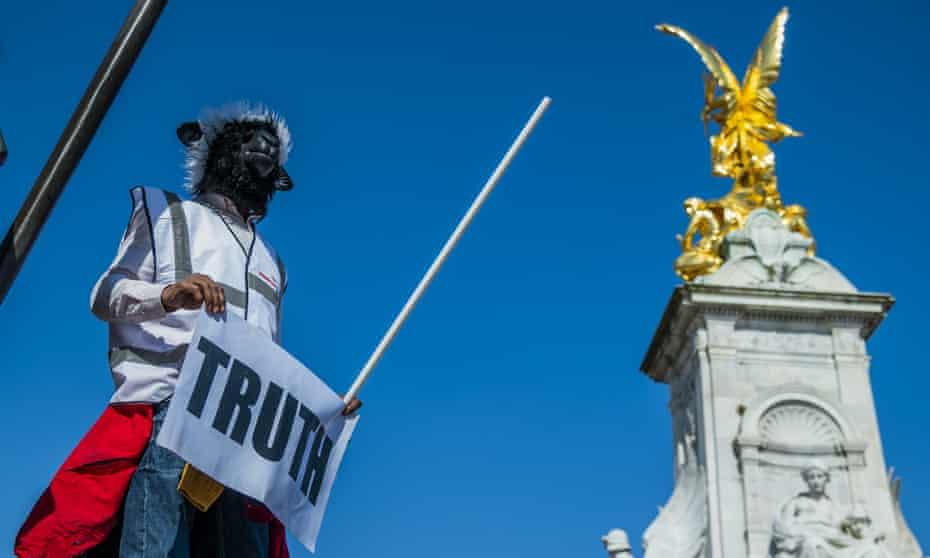 Anti-lockdown protest in London in April.