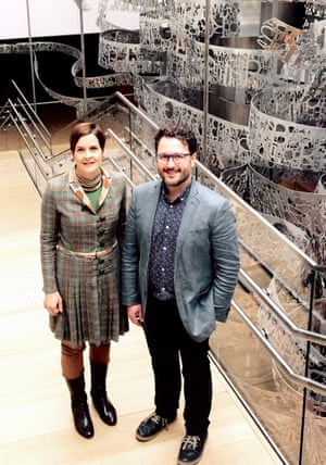 Constanze Itzel and Martí Grau Segú, director and a curator at the House of European History in Brussels, pictured by the Vortex of History, a 25 metre-high installation.
