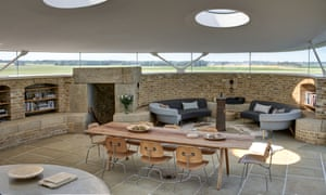 Duncan Jackson designed the cherry wood dining table and Martello sofas inside the Martello tower.