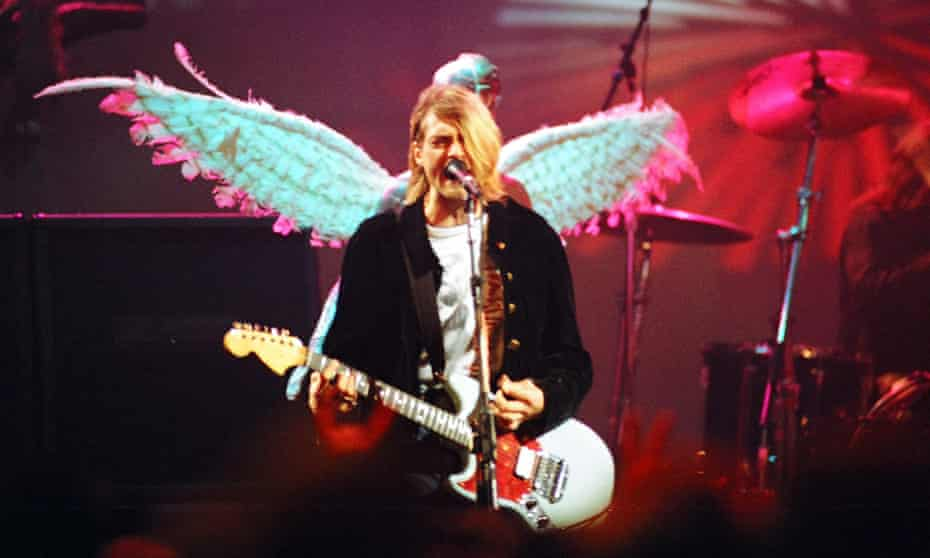 Kurt Cobain during a Nirvana performance in December 1993.