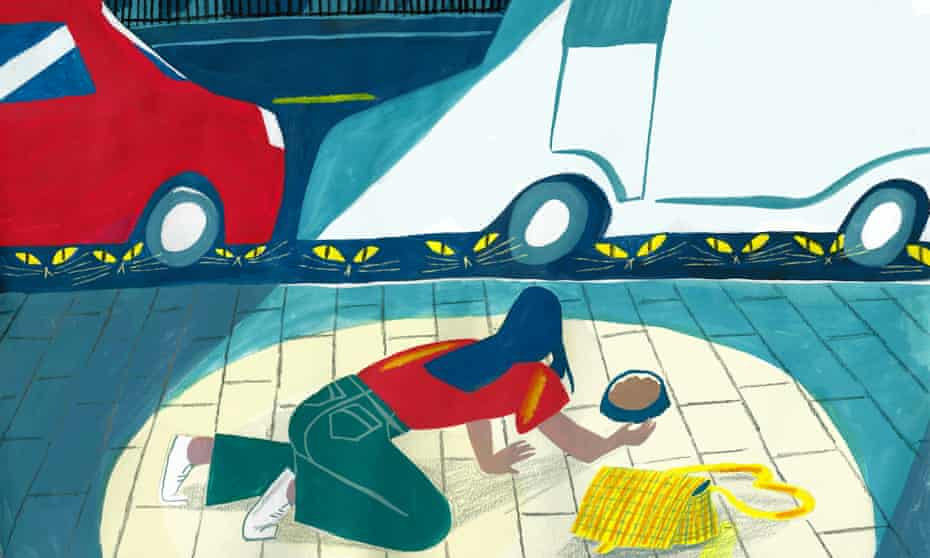 illustration of person with cat food as cats hide under cars