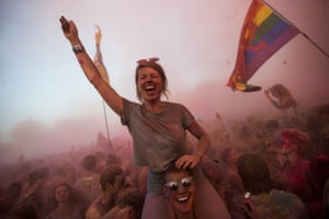 Sziget, HungaryFestival goers participate in a color party at the 25th Sziget (Island) Festival on Shipyard Island. The festival is one of the biggest cultural events of Europe offering art exhibitions, theatrical and circus performances and above all music concerts over eight days.